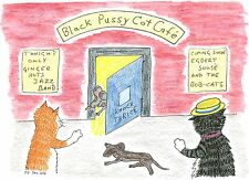 Blank greeting card Black Pussy Cat Cafe Louisa's Ginger Nuts Peter Brighouse