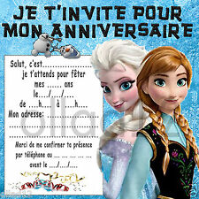 18 CARTES INVITATION ANNIVERSAIRE LA REINE DES NEIGES - FROZEN - VENDUES PAR 18