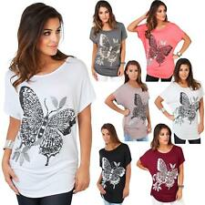 Womens Batwing Long Top Short Sleeve Oversized Baggy Butterfly Sequin Print
