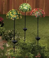 Solar Flower Bouquet Stakes Sunflowers Daisies or Roses Garden Light Stakes Deco