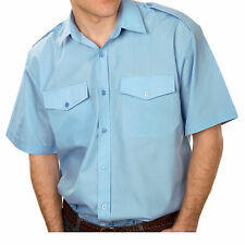 Formal Shirts Mens Short Sleeve Pilot Classic in White and Light Blue S to 3XL