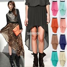 Asym Hem Chiffon Skirt High Low Asymmetrical Long Maxi Dress Elastic Waist EA