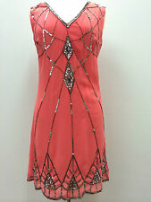 BNWT GATSBY Coral Dress Tunic Top Evening 1920's Shift Dress Size 8 10 12 14 16