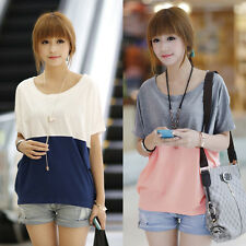 New Fashion Women Girls Korean Loose Bat Sleeve T-shirt Splice Color Blouse Tops