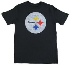 Pittsburgh Steelers NFL BOYS YOUTH Black Faded Logo Tagless T-shirt