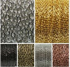 5M/100M Silver/Gold Plated Cable Open Link Iron Metal Chain Findings 6 Colors