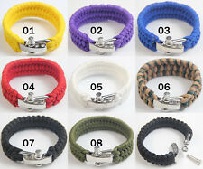 New Practical Paracord Emergency Survival Bracelet&Stainless Steel BOW Shackle
