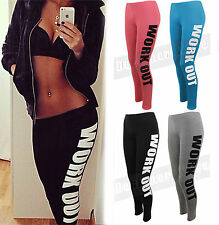 Ladies Womens Slogan Work Out Text Graphic Leggings Stretch Gym Yoga Casual