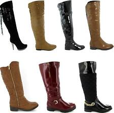 Amazing Ladies Womens Over The Knee High Boots Heel Flat Long Riding New Size