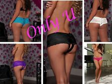 X2 Pairs Sexy Plus Size Stretch Women's Open Crotch Lace Underwear Panty Tie Up