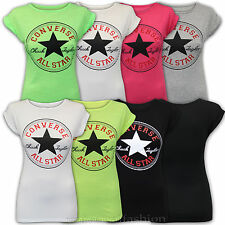 Ladies Top Womens Converse T Shirt Print Crew Neck Star Neon Summer Casual New