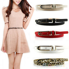 Classy Lady Women Multicolor Waistband Faux Leather Thin Skinny Buckle Belt BE2U