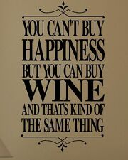 LARGE WALL STICKER QUOTE CAN'T BUY HAPPINESS RED WHITE ROSE WINE NEW UK TRANSFER