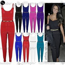 Womens Ladies Gold Belt Thin Strap All in One Plus Size Cami Playsuit Jumpsuit