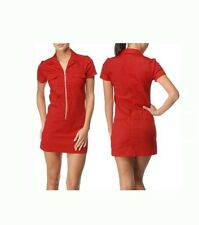 Dickies Girl Diner RED BUTTON UP Dress pinup Rockabilly Retro punk uniform
