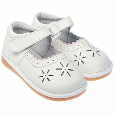 Girls Toddler Childrens Kids Real Leather Squeaky Shoes White Wide Fit & Velcro