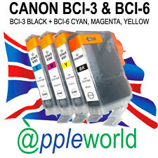 1 SET [4 inks] Canon Ink Cartridges compatible with BCI-3Bk + BCI-6 C, M, Y