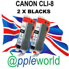 2 Canon CLI8 BLACK Chipped Compatible Ink Cartridges - UK SELLER
