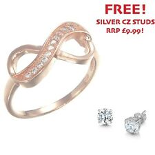 Sterling Silver Rose Gold Plated CZ Infinity Ring - 8IR02 - WITH FREE STUDS!
