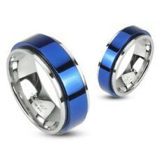 Mens/Womens Stainless Steel Blue Spinner Ring/Wedding-Couples Band/5-13(1657)