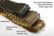 Neotrim Faux Leather PU Woven Herringbone Weave Plaited 5cm Wide Strap Trimming
