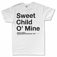 """GUNS N ROSES """"SWEET CHILD"""" O' MINE WHITE SLIM FIT T-SHIRT NEW OFFICIAL ADULT"""
