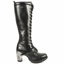 Newrock New Rock TR005-S1 Ladies Black Leather Buckle Lace Knee High Zip Boots