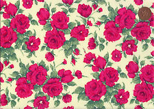 Liberty Poplin Cotton Fabric, 145cm wide, Vintage Tea Roses 'Carline'