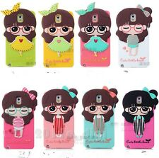 3D Little Bush pretty girl Soft Silicone Rubber Case cover for Samsung phones