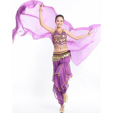 Belly Dance Costume Set Bollywood Tribal Top & Gold Wavy Harem Pants 8 colors