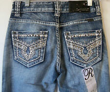 Rock &Roll Cowgirl Juniors Mid Rise Boot Cut Jeans WI-1590- Medium wash