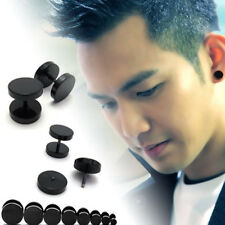 1Pair Punk Jewelry Stainless Steel Round Plain Men Ear Stud Barbell Earring NEW