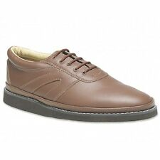 Mens Womens Ladies Leather Lace-Up Padded Comfy Casual Bowling Shoes Tan Brown