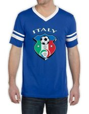 ITALIA Italy Soccer Team Crest Stripe T-Shirt WORLD CUP 2014 jersey National top