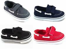 Toddler Boys Boat Shoe Loafer Kids Boys Tennis Shoes w/ Velcro- Sizes 4-9