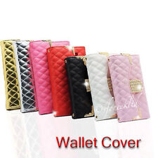 CRYSTAL BLING MAGNETIC PURSE WALLET LEATHER FLIP CASE COVER FOR SAMSUNG & APPLE
