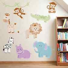 Zoo Collection Zebra Monkey Nursery Childrens Full Colour Wall Stickers, SSC16