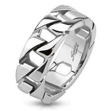 New Mens 316L Stainless Steel Cuban Chain Linked Style Band Ring Size 9-13(9014)