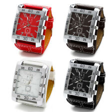 Chic Leather Band Square Dial Men Women Quartz Watches Fashion Wrist Watch