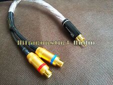One RCA Male to Two RCA Female Audio Splitter Y-Cable Copper Silver Plated