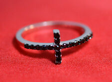 925 Sterling Silver 9MM SIDEWAY CROSS DESIGN WITH BLACK CZ RINGS