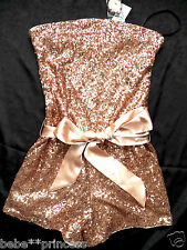 NWT bebe light pink sequin strapless belt sparkle top romper large L sexy party