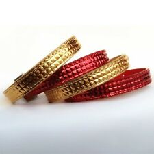 Gold or Red Small Dog Cat Pet Collar PU Leather Bling Rhinestone Buckles XS S M