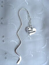 1 X PERSONALISED SILVER PLATED RHINESTONE HEART BOOKMARK BIRTHDAY GIFT PRESENT