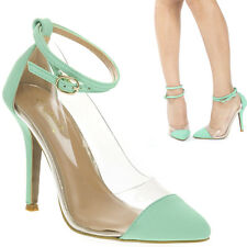 Mint Blue Green Lucite Clear Pointy Cap Toe Ankle Strap High Heel Stiletto Pumps