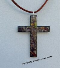 mossy oak break up real tree camo cross shape pendant necklace camouflage brown