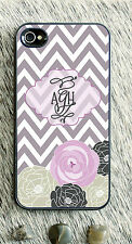 Monogrammed iPhone 5 case pink chevron personalized cover iPhone 4 MG-049