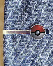 Pokemon pokeball silver or black new tie clip bar clasp or lapel pin
