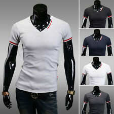New Men's T-Shirts V-Neck Tee Short Sleeve Slim Fit Basic Casual Shirts Top Tee
