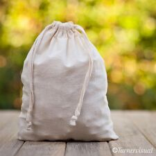 Cotton Calico Pouch Favor Carry Bag Drawstring Fabric Natural 7 Sizes